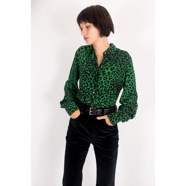 Bell Sleeve  Leopard Emerald Shirt