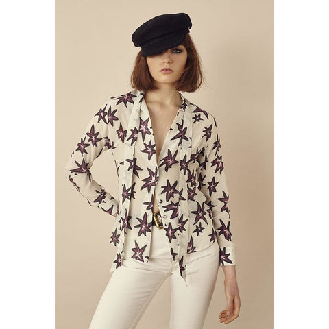 Explosions Pussy Bow Silk Shirt Ivory