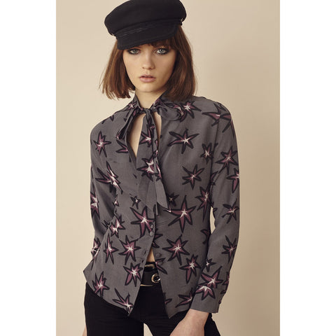 Explosions Pussy Bow Silk Shirt Black