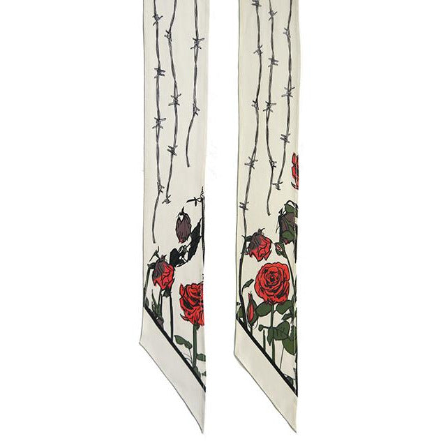 Roses Super Skinny Scarf Ivory
