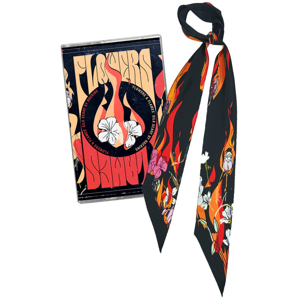 Flowers 'n' Flames Super Skinny Scarf Black