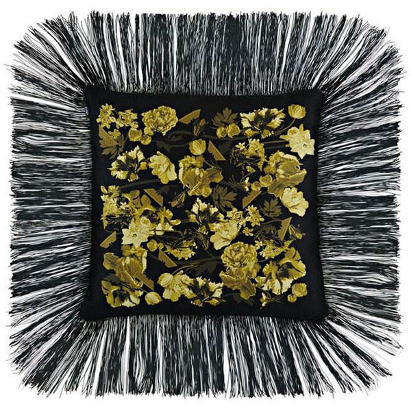 Flora Fringed Cushion Gold