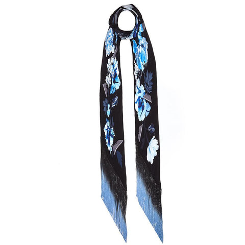 Flora Classic Skinny Fringed Scarf Blue