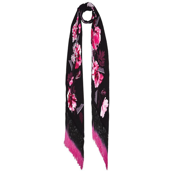 Flora Classic Skinny Fringed Scarf Pink