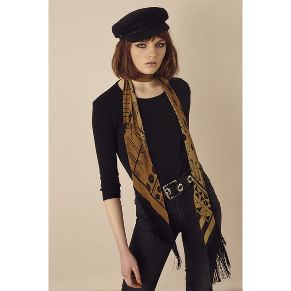 Rockins Classic Skinny Fringed Scarf Gold