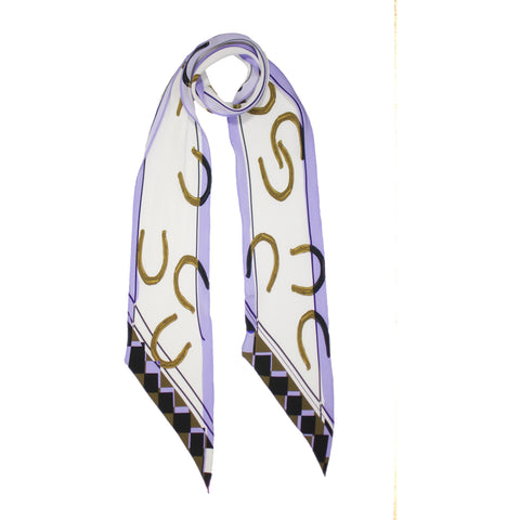 Horse Shoe Classic Skinny Scarf Ivory