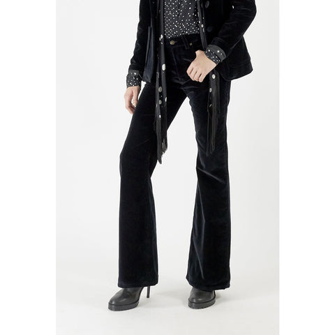 High Rise Flare Polka Star Lined Trousers Black Velvet