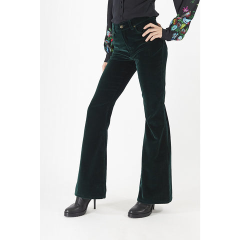 High Rise Flare Polka Star Lined Trousers Emerald Velvet