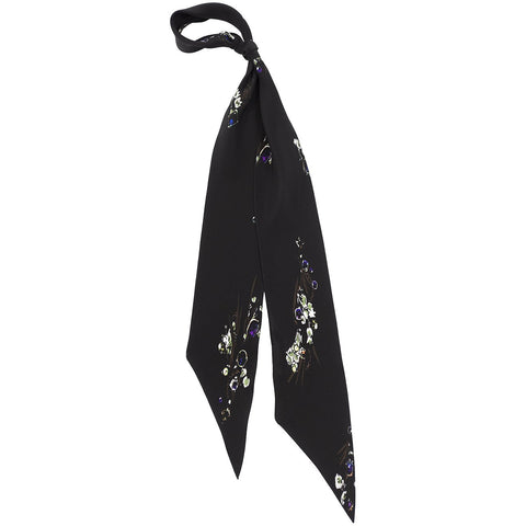 Jewel Posy Super Skinny Scarf Black