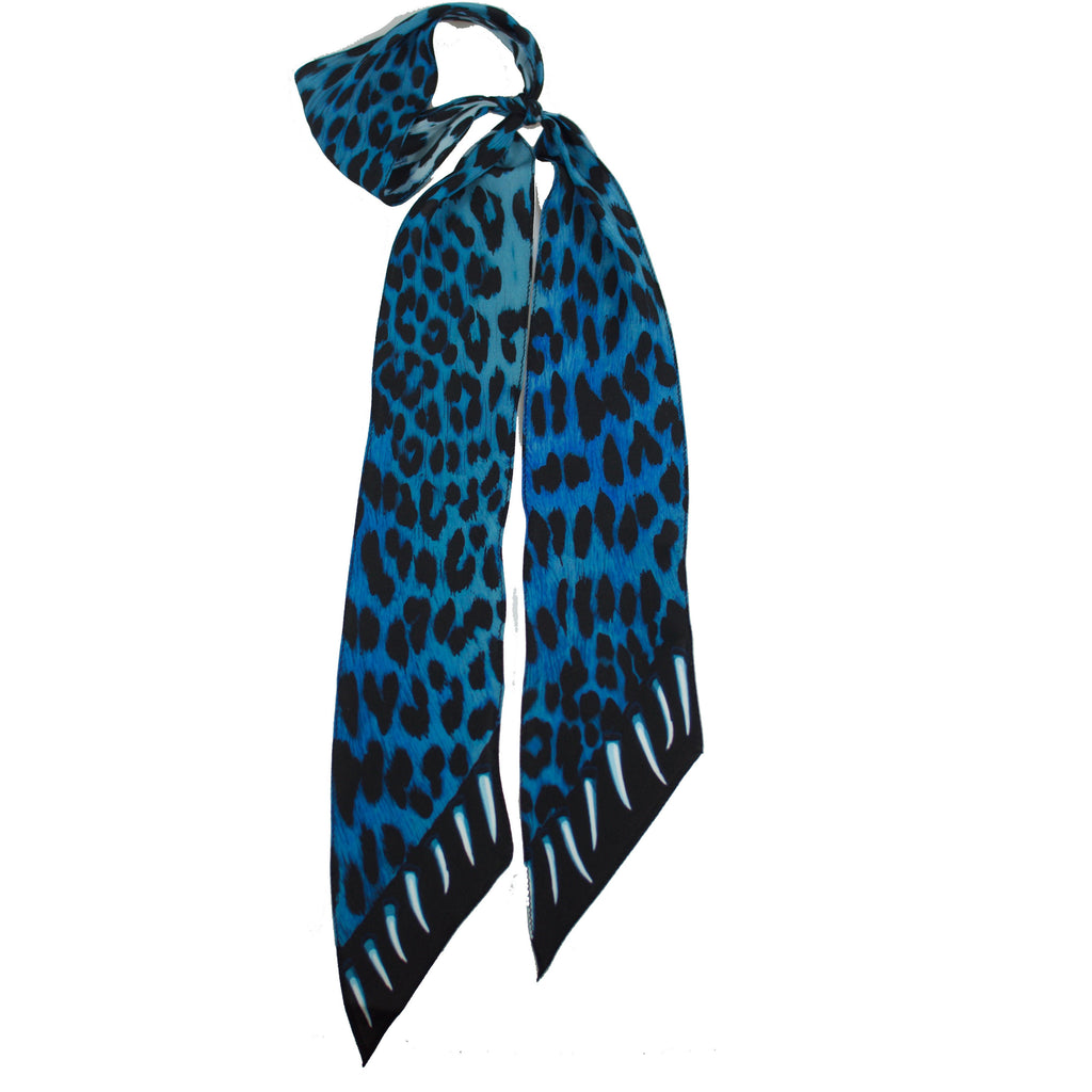 Leopard's Teeth Super Skinny Scarf Blue