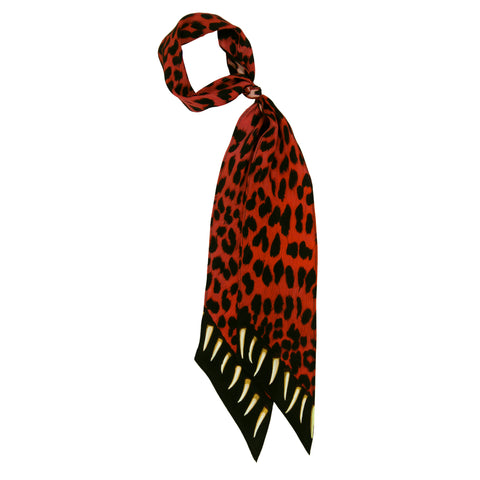 Leopard Teeth Super Skinny Scarf Pink