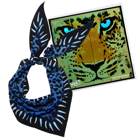 Leopard Teeth Neckerchief Blue