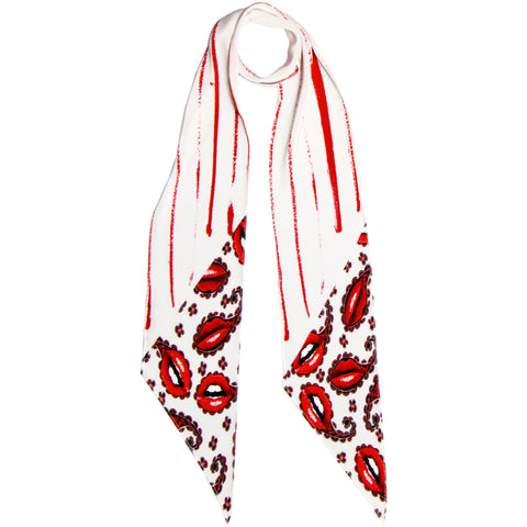 Lips Paisley Classic Skinny Scarf Ivory