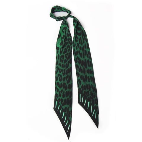 Leopard Teeth Super Skinny Scarf Emerald