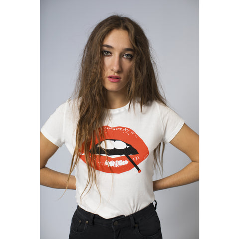 Lips Printed T-Shirt Off White