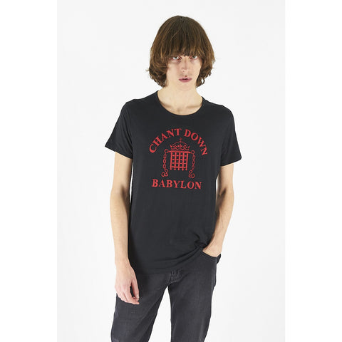 Mens Chant Down Babylon Tee Washed Black