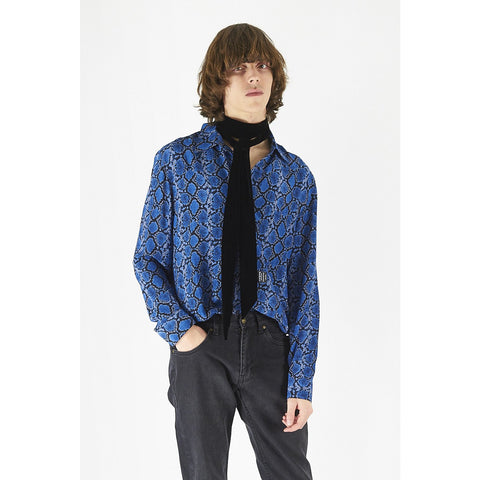 Mens blue silk snakeskin shirt