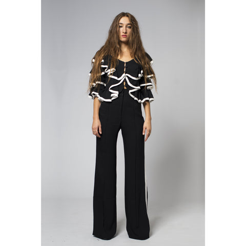 High Waist Wide Leg Trouser with White Stripes