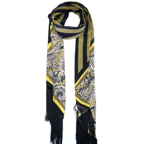 Paisley Chain Maxi Fringed Scarf Gold