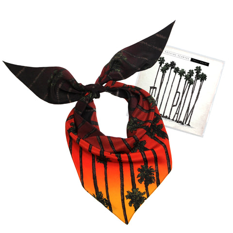 Tall Palm Neckerchief Silk Sunset