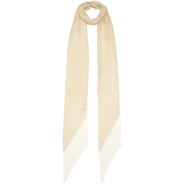 Plain Classic Skinny Fringe Embroidered Ivory