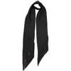 Plain Satin Classic Skinny Fringed Embroidered Scarf Black