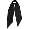 Plain Satin Classic Skinny Embroidered Scarf Black