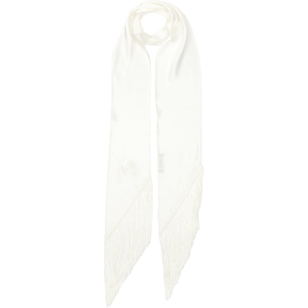 Plain Satin Classic Skinny Fringed Embroidered Scarf White
