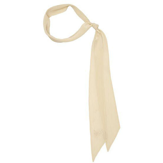 Plain Super Skinny Embroidered Scarf Ivory