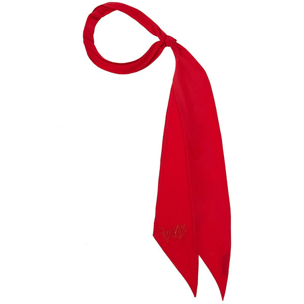 Plain Super Skinny Embroidered Scarf Red