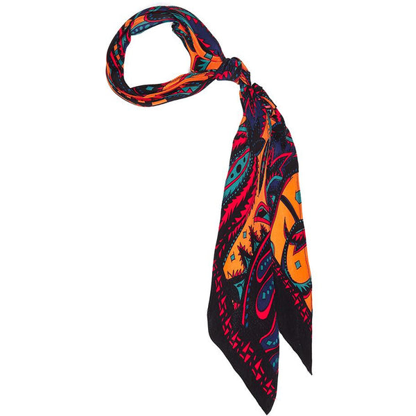Prickly Paisley Super Skinny Scarf Orange