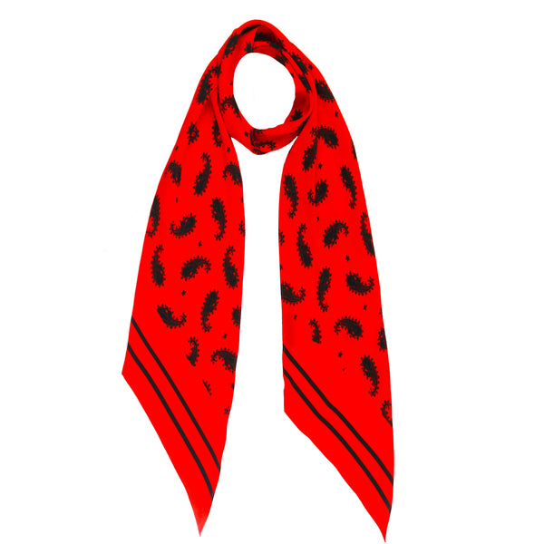 Rolling Stones Paisley Skinny Scarf Red