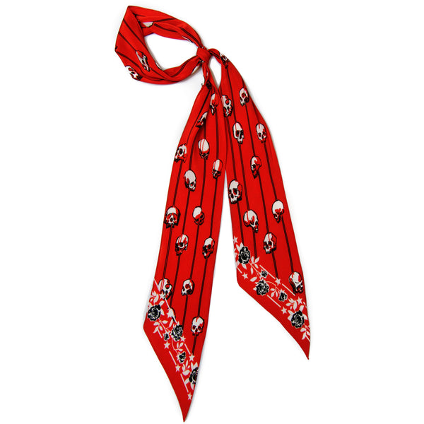 Skull Stripes Super Skinny Scarf Red