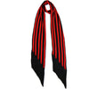 Stripy Classic Skinny Fringed Scarf Red and Black