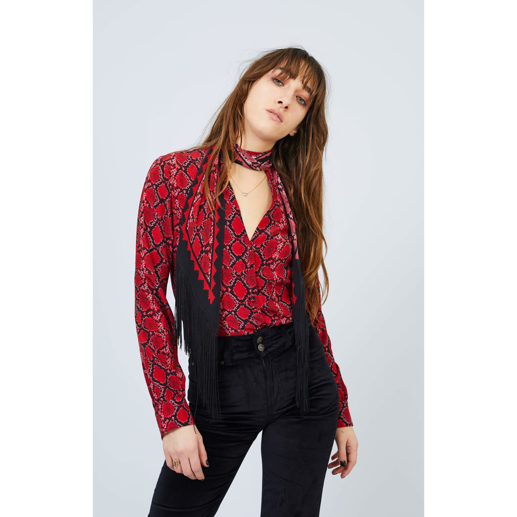 Red Snakeskin Pussy Bow Shirt with Fringe