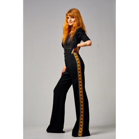 Black Moss Crepe High Waist Wide Leg Trouser Black