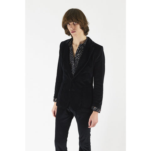 Mens Velvet Blazer Black