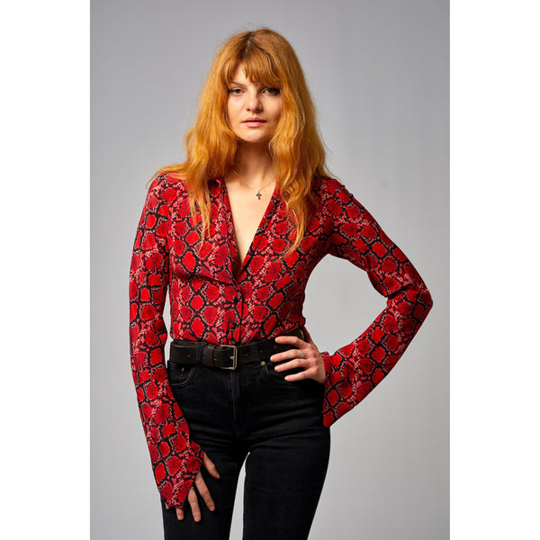 Mitred Sleeve Shirt Red Snakeskin Red