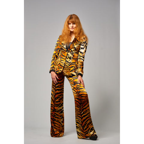 Tiger Two Button Blazer Gold