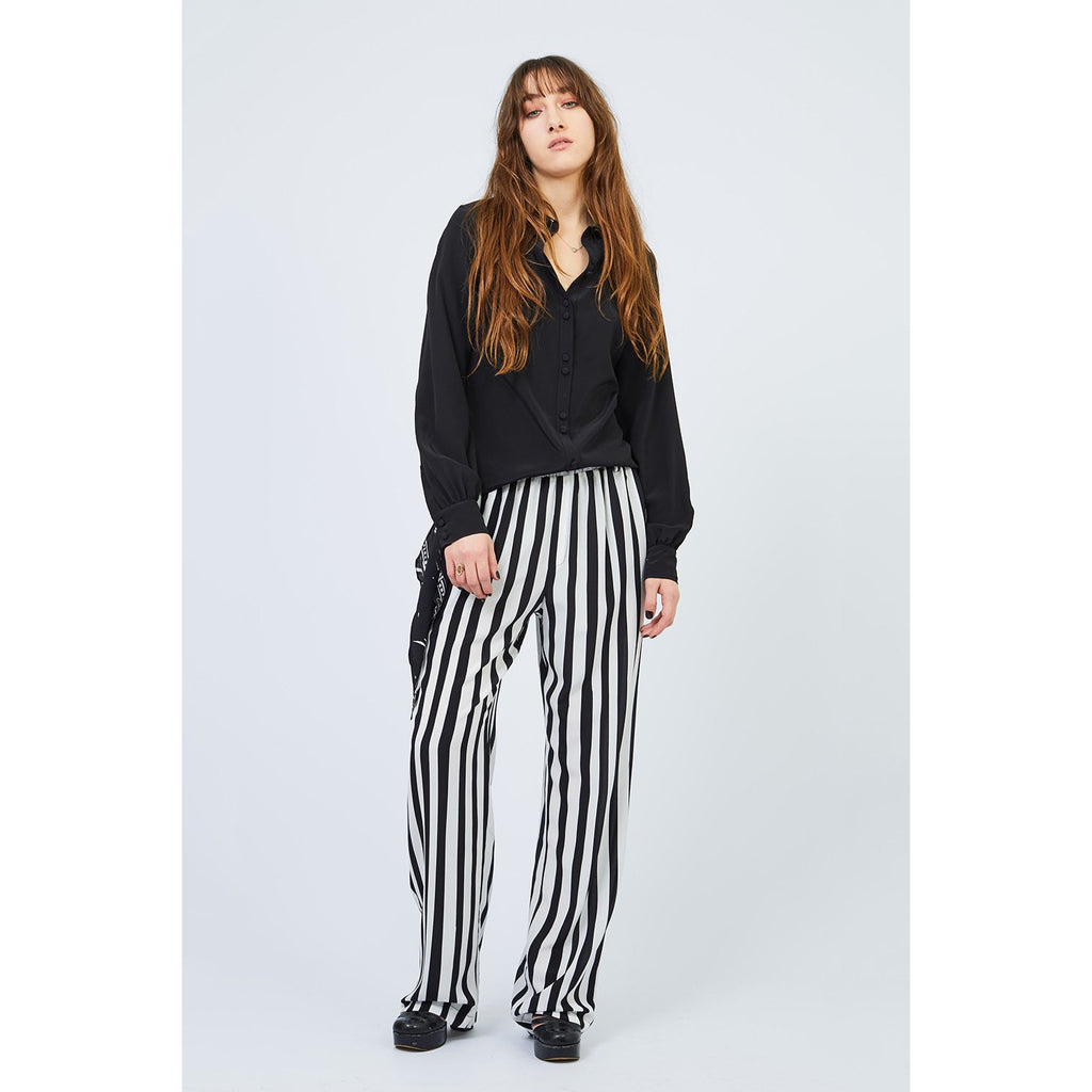 Marquee Stripe Loose Trousers Black & White