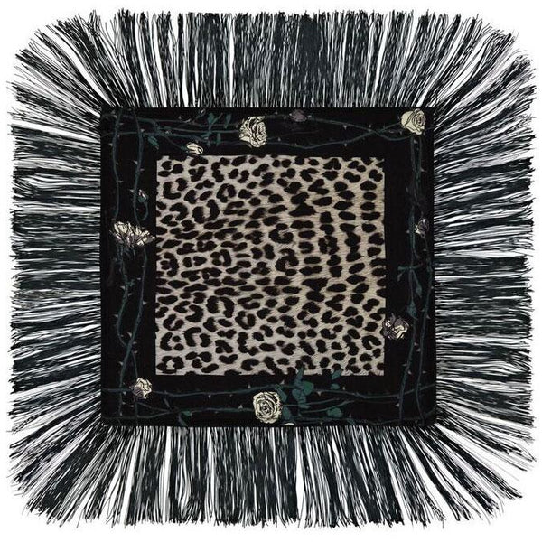 Rose Leopard Fringed Cushion Grey