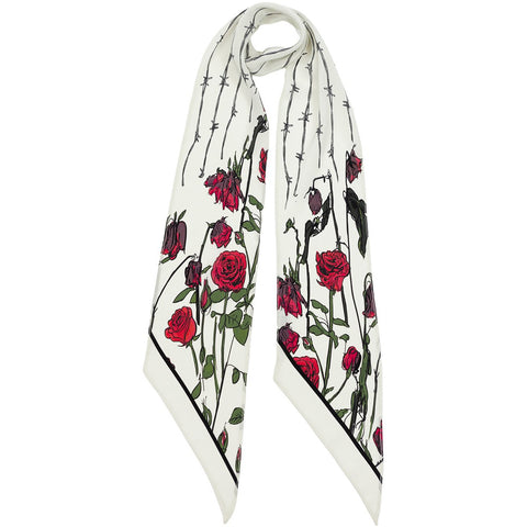 Roses Classic Skinny Scarf Ivory