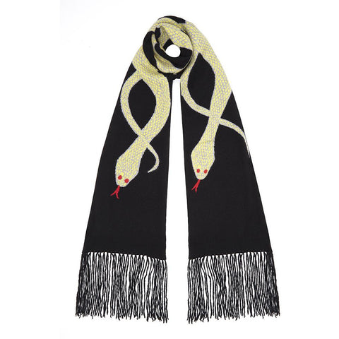 Snakes Cashmere Fringed Scarf (Lime)