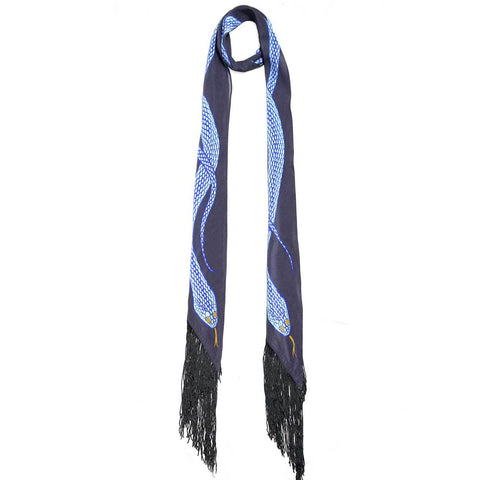 Snakes Classic Skinny Fringed Scarf Silver