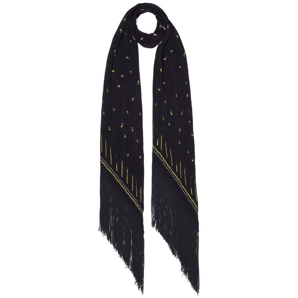 Fireflies Classic Skinny Fringed Scarf Black & Yellow