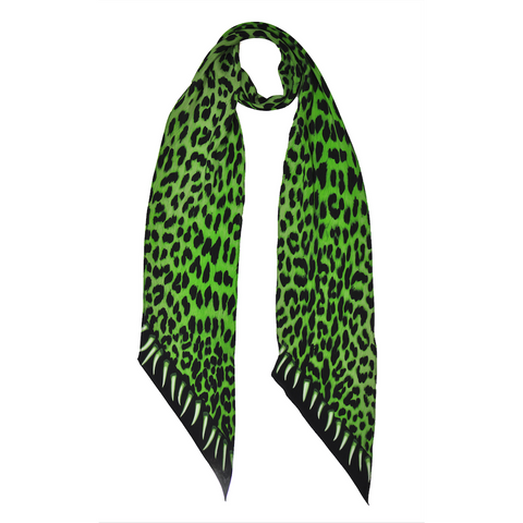 Leopard Teeth Classic Skinny Scarf Green
