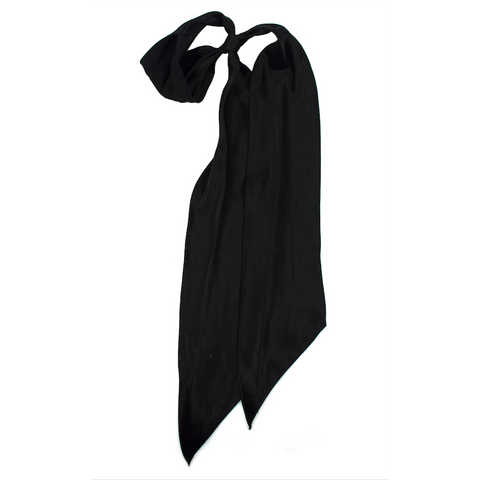 Plain Satin Super Skinny Scarf Black