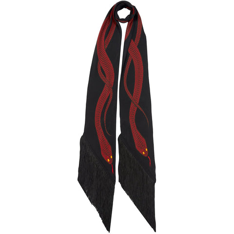 Snakes Classic Skinny Fringed Scarf Red