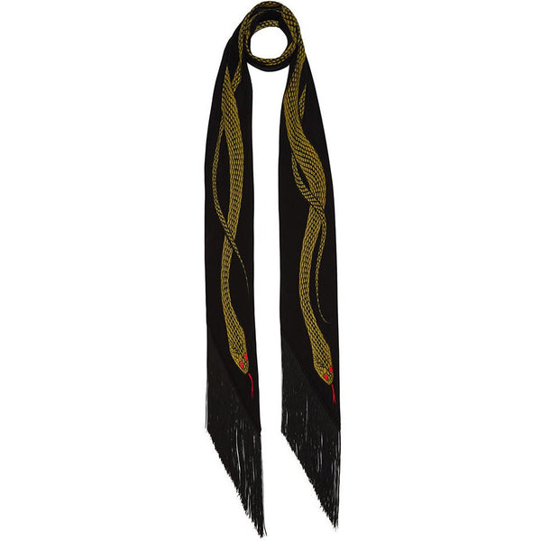 Snakes Classic Skinny Fringed Scarf Gold