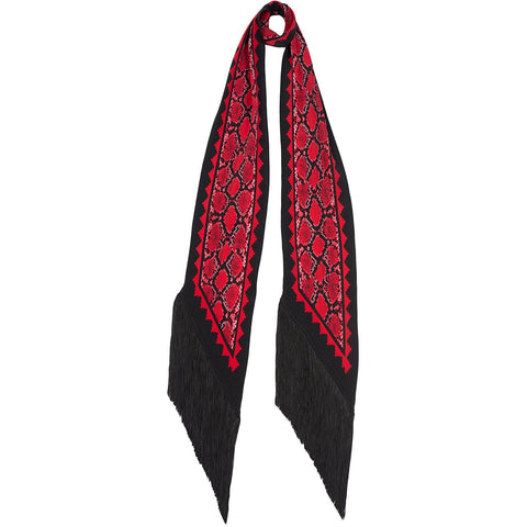 Snakeskin Classic Skinny Fringed Scarf Red